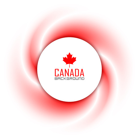 Canadian badge on twisted red and white background