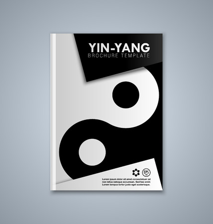 taijitu: Yin and Yang brochure or book cover template on grey background
