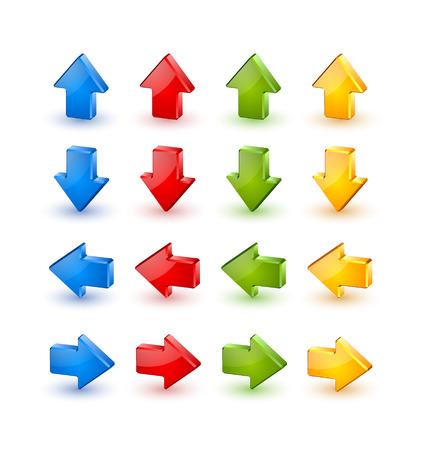 flecha: Coloridos extruidos tres iconos de las flechas tridimensionales sobre fondo blanco Vectores