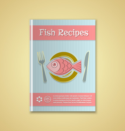 recipe book: Brochure or book cover template on yellow background Illustration