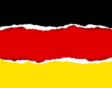 german flag: Ripped German flag made of torn papers