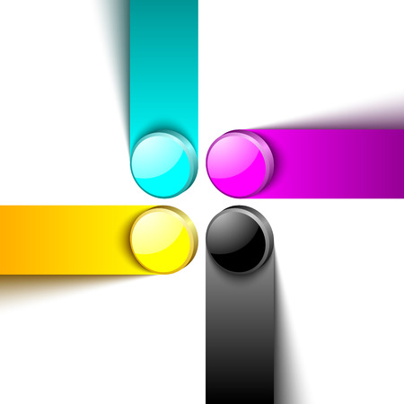 4 color printing: Three dimensional primary cmyk print color design elements on white background