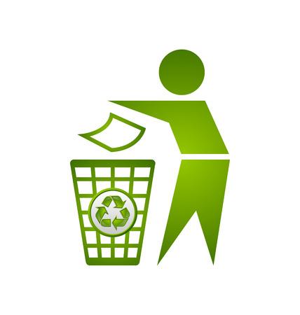 reciclar basura: El hombre y la basura bin con el icono de reciclaje aisladas sobre fondo blanco