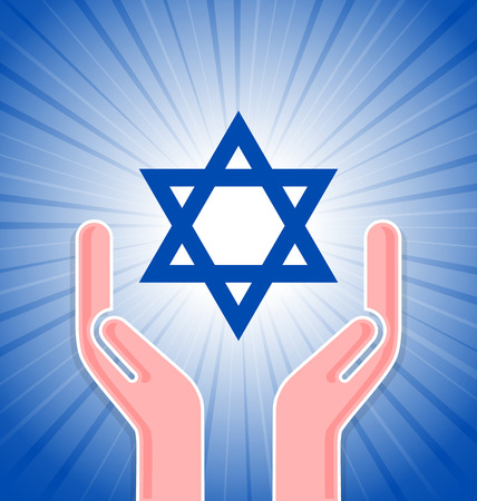 yiddish: Blue Star of David and hands on blue background with rays Illustration