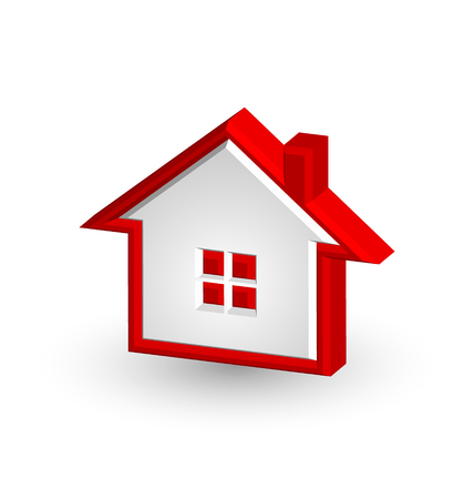 Red house icon isolated on white background
