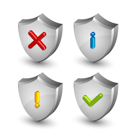 Notification shield icons suitable for custom web design and computer purposes Vector
