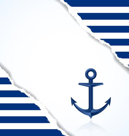 ancre marine: Fond nautique avec ancre et rayures bleues et blanches