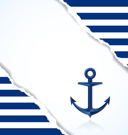 Nautical background with anchor and blue and white stripes Stock Illustratie