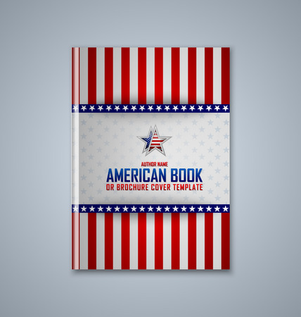 flag of usa: Brochure or book cover template on grey background