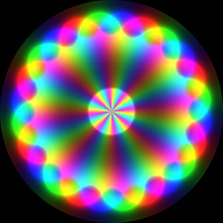 Colorful magical symbol with spectral waves on black background photo