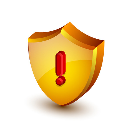 virus alert: Big yellow and glossy security alert shield with red exclamation mark on white background
