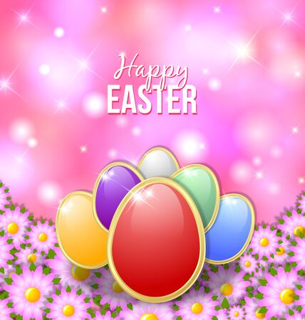 golden religious symbols: Colored Easter eggs on the bed of flowers