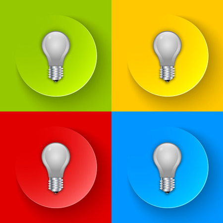 metal filament: Set of simple and colorful light bulb icons Illustration