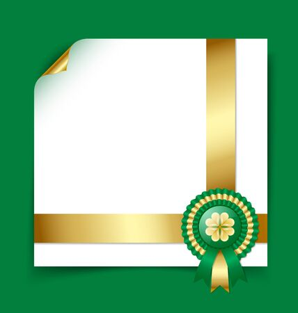 Saint Patricks Day Irish rosette with ribbons document template on green background Vector