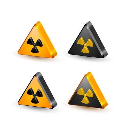 caution chemistry: Nuclear symbols isolated on white background