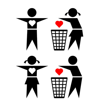 cheating: Cheating girl and boy are throwing their friends loving heart into trash bin on white background