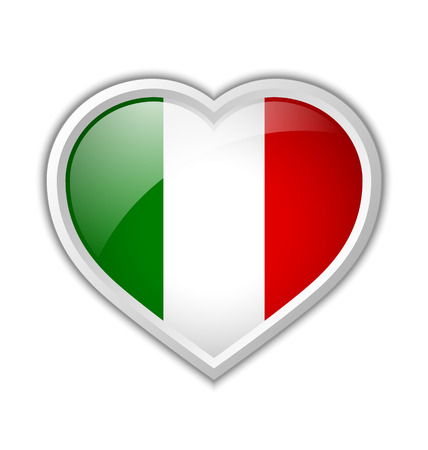 Italian heart shaped badge or icon with shadow on white background Vector