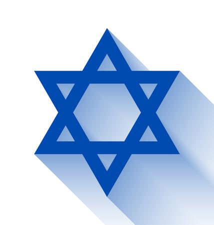 yiddish: Blue Star di Davide, con effetto di lunga ombra su sfondo bianco Vettoriali