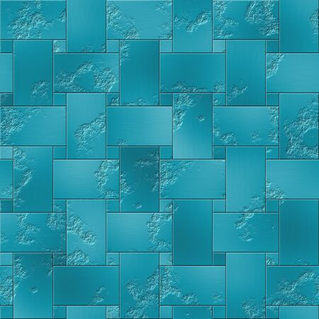Seamless blue metal plates texture in geometric style photo