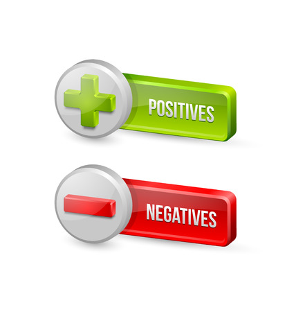 Positives and negatives buttons isolated on white background Illustration