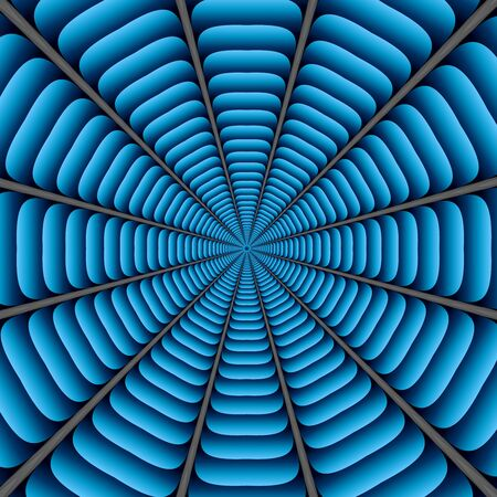 Blue twisted and ribbed abstract flower background