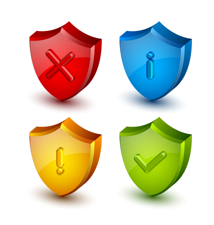 proclamation: Notification shield icons suitable for custom web design and computer purposes