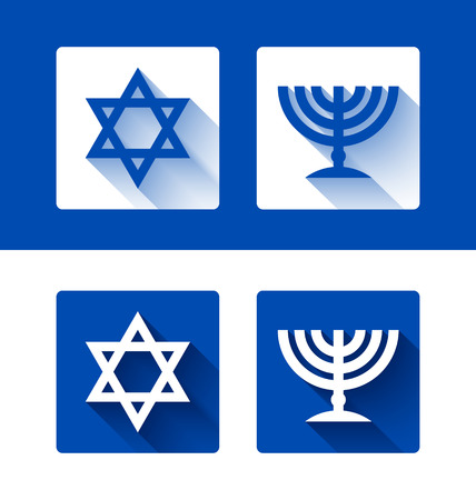 jewish star: Jewish star of David and menorah candleholder with long shadow effect on background Illustration
