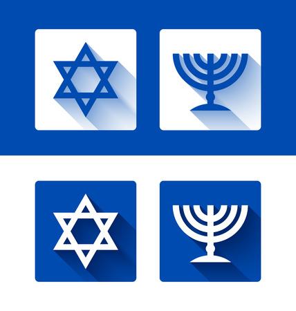 etoile juive: �toile juive de David et menorah bougeoir avec effet longue ombre sur fond