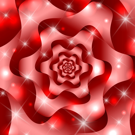twisted: Red twisted and ribbed abstract flower background