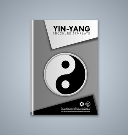 subtitle: Yin and Yang brochure or book cover template on grey background