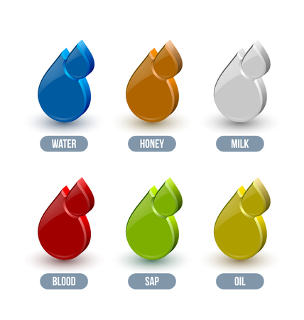 damp: Set of glossy liquid icons isolated on white background