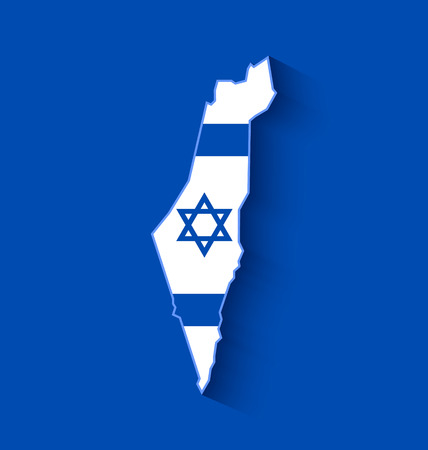 star map: Israel map with Israeli flag inside of shape with long shadow effect on blue background