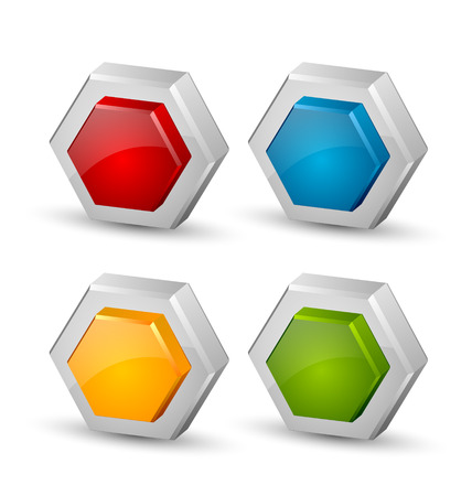 honeyed: Glossy three dimensional hexagonal honeycomb icons on white background Illustration