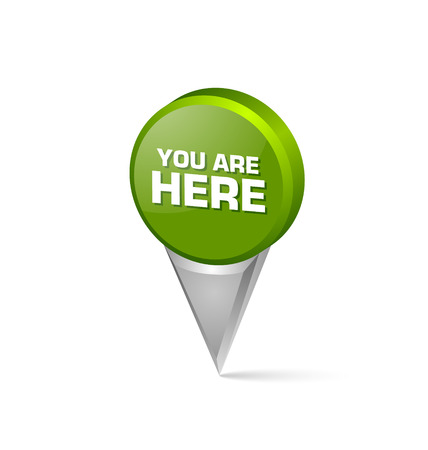 here: You are here 3d map mark pointer isolated on white background Illustration