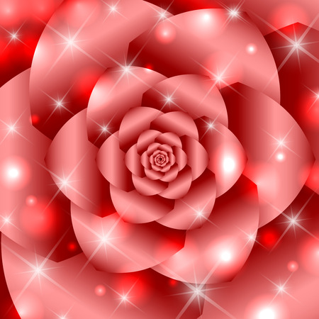 portal: Red twisted and ribbed abstract flower background