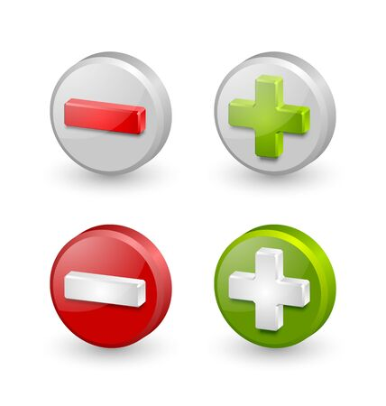 Three dimensional plus and minus icons on white background
