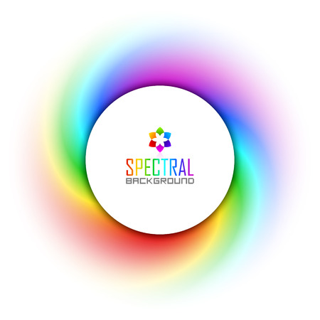 Circular badge on spectral colorful twisted background