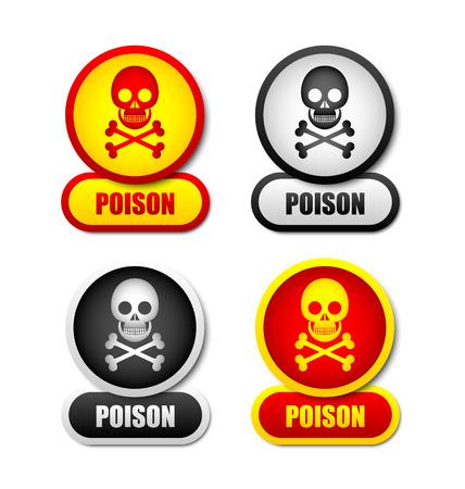 crossbones: Skull and crossbones poison icons isolated on white background Illustration