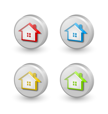 3d dimensional: Three dimensional house icons isolated on white background