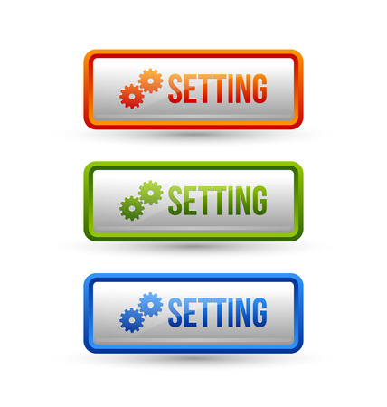 upkeep: Glossy setting buttons isolated on white background Illustration