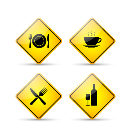 Glossy restaurant road signs in yellow and black style on white background Vector