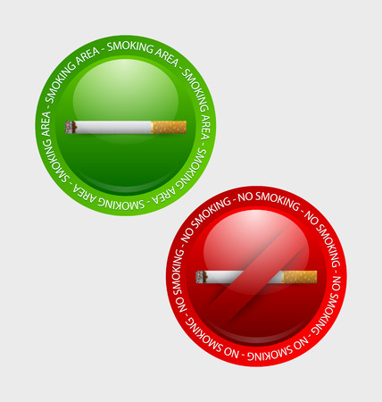 pale background: Smoking and no smoking prohibition signs placed on pale background