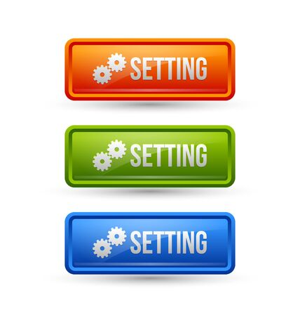 rectangle button: Glossy setting buttons isolated on white background Illustration