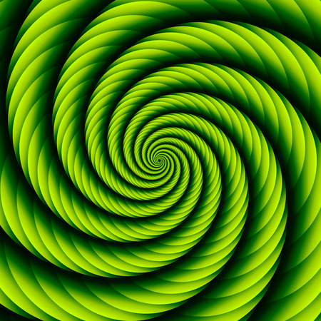 Green twisted and ribbed spiral object with background