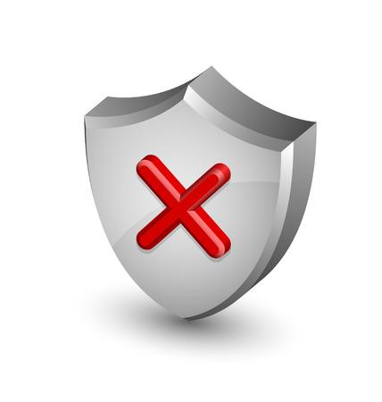 알림: Error notification shield icon suitable for custom web design and computer purposes 일러스트