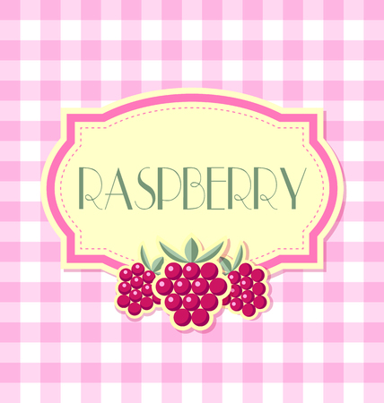 raspberry: Raspberry label in retro style on squared background