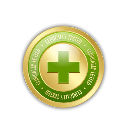dermatologist: Golden clinically tested symbol with cross on white background