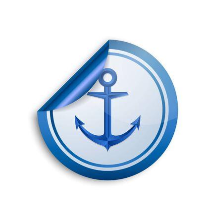white sticker: Nautical anchor sticker icon on white background Illustration