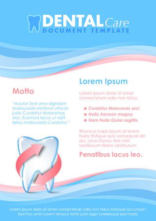 sağlık: Korumalı diş simgesi ile Dental belge şablonu Çizim