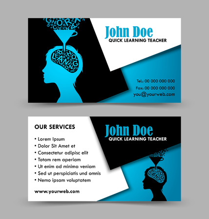 front and back side of quick learning theme business card isolated on grey background stock vector - Back Of Business Card